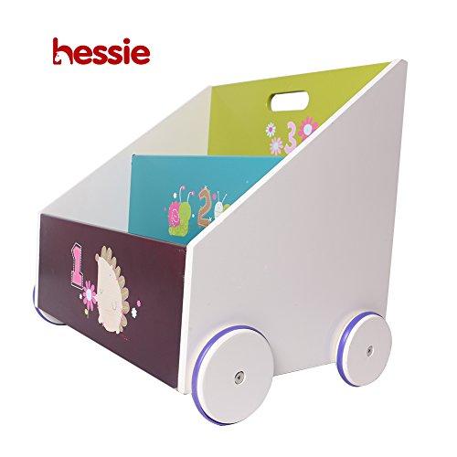 Hessie Little Toddler Kids Portable Wooden Bookcase/Bookshelf on Wheels, Book Storage/Shelf, Library Furniture - Green Hedgehog (Trapeziodal Shape)
