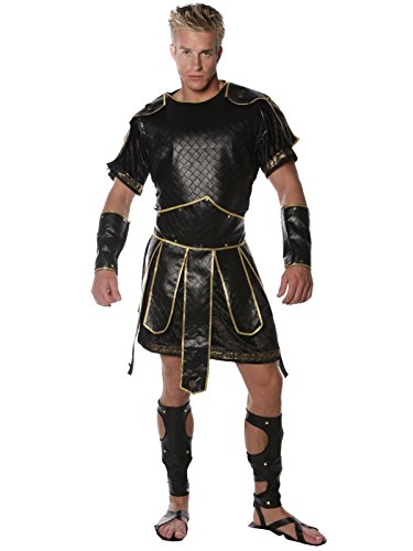 Mens Spartan Solider Costume 5 Piece Set Texture Faux Leather Spartan Fighter