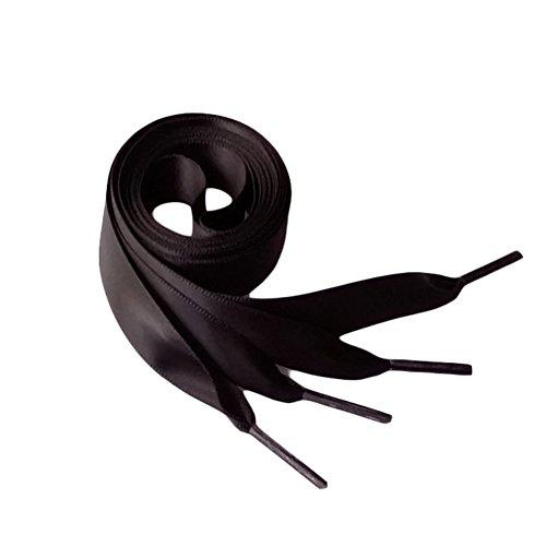 Black Silk Shoes (Zeroyoyo Fashion 120CM Flat Silk Ribbon Shoelaces Shoe Laces Sneaker Sport Shoes Lace 1Pair Satin Shoelaces Strings)