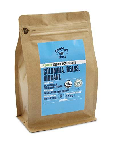 Grumpy Mule Organic Colombia Finca Agroberlin Whole Bean Coffee – 12 oz (340 grams). Rainforest Alliance Certified.