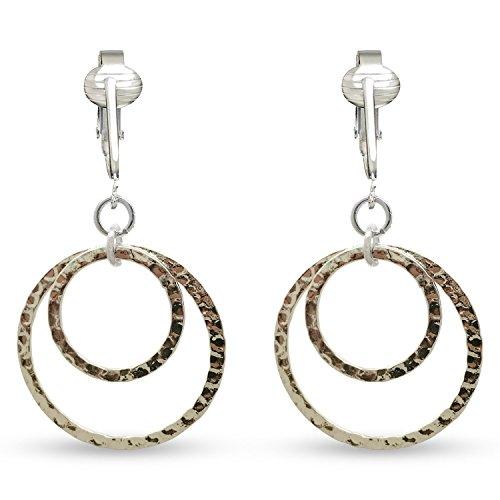 Womens Clip Earrings Silver, Silver Earrings Clip On for Women, Girls, Lightweight Silver Clip Earrings (Silver Double Hoops) by Clip Earring Shop