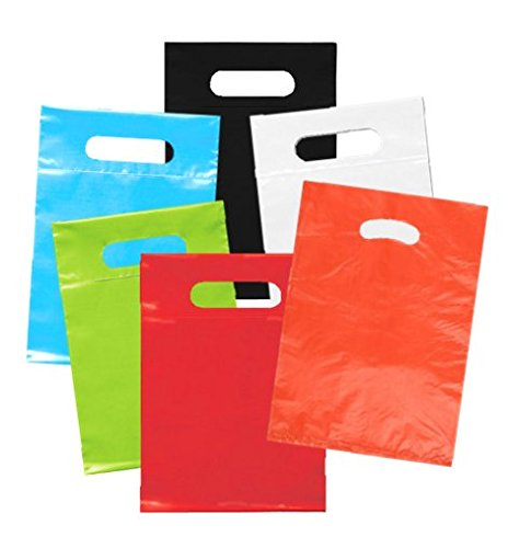 Playo Die Cut Plastic Bags - Party Favor Shopping Bags with Handles 50 Ct (Colored Plastic Bags)