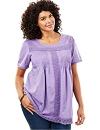Women's Plus Size Lace-Trimmed Cotton Tunic