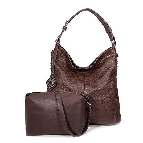 DDDH Women Handbags Hobo Shoulder Bags Tote Leather Handbags Fashion Large Capacity Bags(Coffee new)