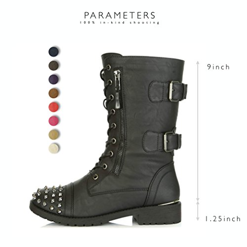 DailyShoes Women's Military Lace up Buckle Combat Boots Mid Knee High Exclusive Credit Card Pocket Front Studded Booties, Black PU, 8.5 B(M) US by DailyShoes (Image #3)