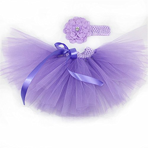 MizHome Newborn Baby Girls Birthday Layered Tulle Tutu Skirt Flower Peony Headwear Outfits Lilac Light Purple (Lilac Tutu)