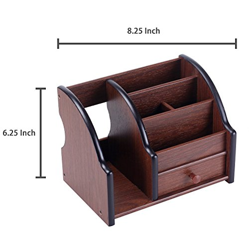 5 Compartment Wood Desktop Office Supply Organizer / Mail Holder Rack with Storage Drawer by MyGift (Image #6)
