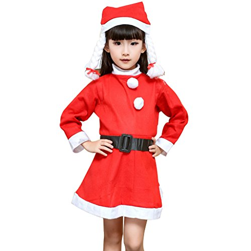 [Boy's and Girl's Santa Costume with Hat for Merry Christmas Party (Small=3-5T, Girl)] (Childrens Santa Costume Pattern)