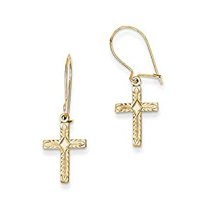 13mm Textured Cross Dangle Earrings in 14k Yellow Gold