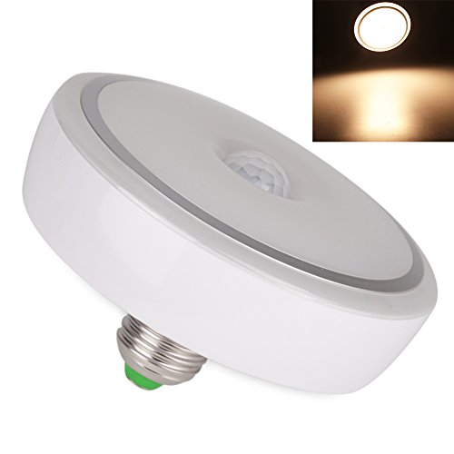 FISHBERG E27 12W PIR Motion Sensor Led Light Auto Switch Ceiling Night Lamp Downlight Motion Detector Led Bulbs for Garage,Basement,Closet and Driveway (Warm White)