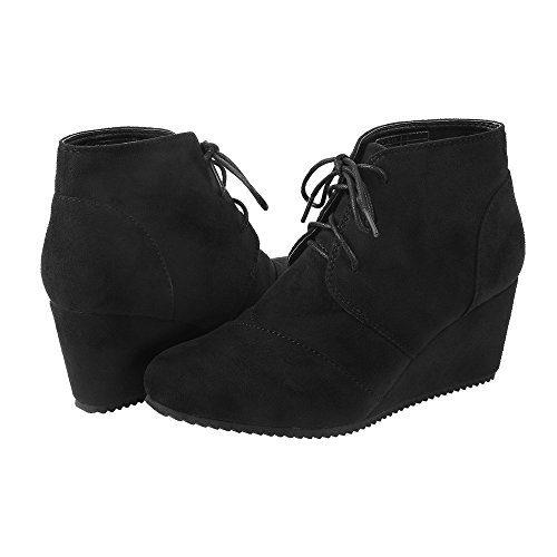 Short Lace Up Winter Boots (Black) - 6