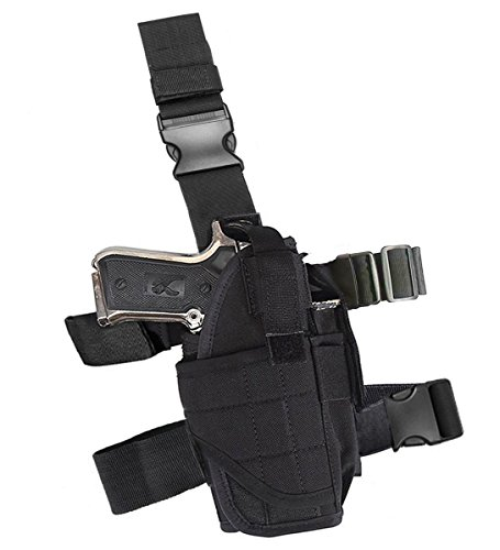 Molle Tactical Pistol Thigh Gun Holster, Drop Leg Holster, Right Hand Adjustable. Drop Down Holster