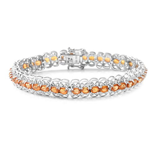 - 925 Sterling Silver Platinum Plated Oval Orange Sapphire Tennis Bracelet for Women 7.25