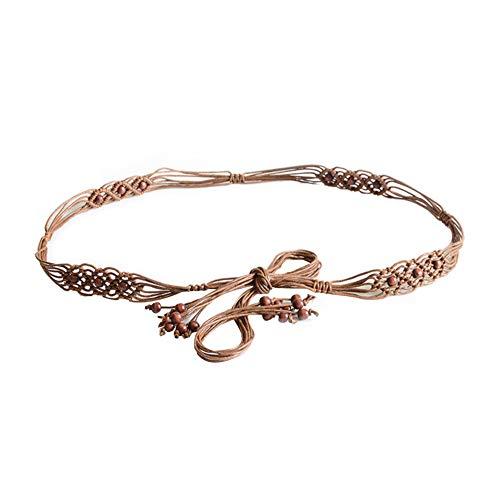 - Women Bohemia Handmade Beads Braided Rope Waist Belt Strap Dress Slim Waistband
