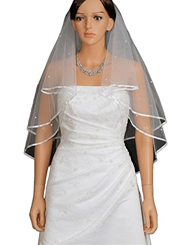 2 Tier Ribbon Edge Center Gathered Rhinestone Crystal Bridal Wedding Veil - White Elbow Length 30