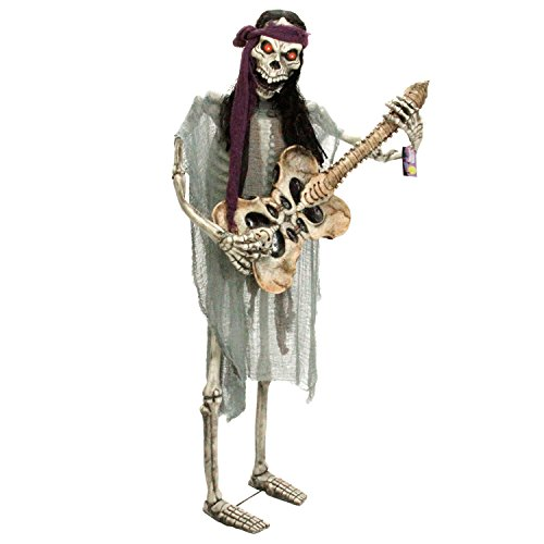 Halloween Haunters Life-Size Animated Standing Skeleton Zombie Man Guitar Bass Player Musician Rock Band Prop Decoration - Thick Rubber Latex Rocking Strumming Music -