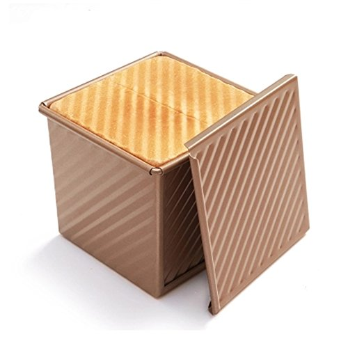(CANDeal Loaf Pan With Cover/Bread Baking Mould Cake Toast/Non-Stick Toast Box with Lid For 250g Dough, Vented Hole for Rapid Baking, Made from Heavy-gauge Carbon Steel(Golden, Wavy Style))