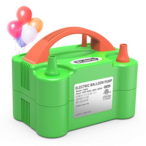 Dr.meter Electric Air Balloon Pump, 110V 600W Portable Christmas Decorations Air Pump with Dual Nozzle Blower/Inflator for Party Decoration/Wedding/Birthday/Sport/Christmas ()