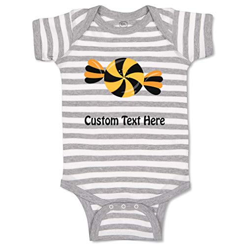 Custom Personalized Boy & Girl Baby Bodysuit Halloween Candy Black Orange Funny Cotton Baby Clothes Stripes Gray White Personalized Text Here 24 Months]()