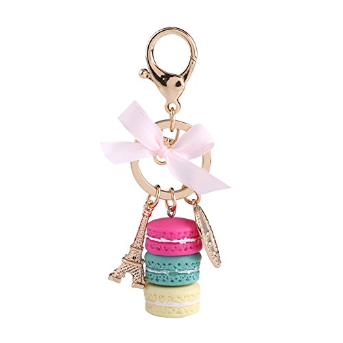 1pc Key Ring Colorful Cute Alloy Macaron Eiffel Tower Keychain Keyring Accessory for Car Decoration Or Bag Pendant (Rose red) (Tower Ring Eiffel)