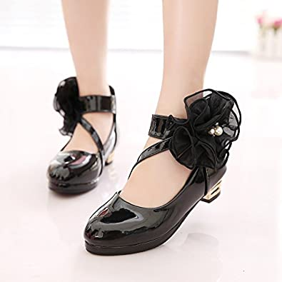 veribuy Mary Jane Flower Shoes PU Leather Dress Shoes Dance Shoes Toddler//Little Girls//Big Girls