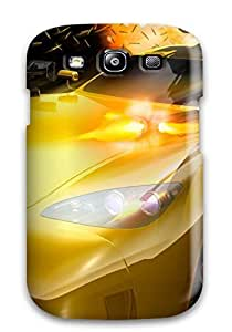Galaxy S3 Case Cover - Slim Fit Tpu Protector Shock Absorbent Case (yellow Car With Machine Guns)