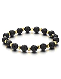 Mens Womens Volcanic Lava Stone Bracelet with Small Gold Color Beads, Prayer Mala