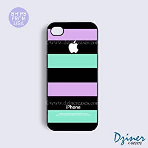 MEIMEIiPhone 5 5s Case - Black Purple Green Stripes iPhone CoverMEIMEI