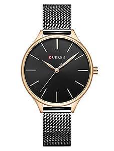 Relojes Mujer Luxus Sport Reloj analógico de Cuarzo Acero Inoxidable Chica Business Fashion Reloj de Pulsera Negro Redondas Reloj Mujer y Tuerca
