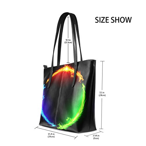 Handle Shoulder PU Fashion Leather In Dragons Circle Purses Fire Bags Totes Top Women's Handbag TIZORAX XvqPfwY
