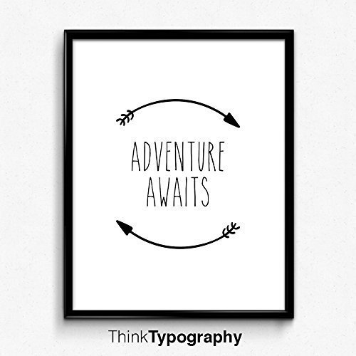 Adventure Awaits, Black and White Art, Inspirational Quote, Typography Art, Wall Art Prints, Home Decor, Gift, Nursery Decor, Baby, girl