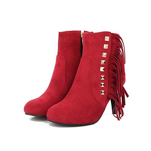VogueZone009 Damen PU Rund Zehe Hoher Absatz Reißverschluss Eingelegt Stiefel Rot