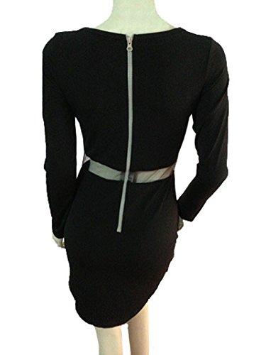 Culater® 1PC Sexy Femmes Noires Moulante à Manches Longues Mince Cocktail Party Robe Courte