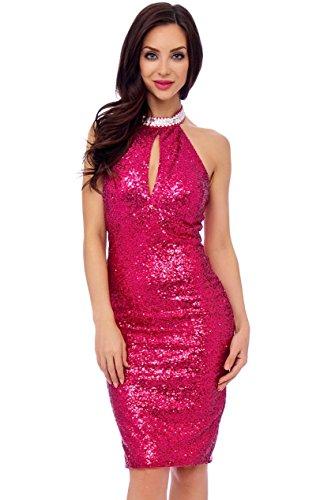 Ball Formale Pailletten Kleid mit Abend Figurbetont Größe Mini 8 Neckholder Pink New Party Cocktail 8Axn6C4q0w