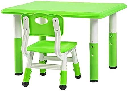 Mesas y sillas Los niños escritorio y Juego de sillas, 80x60cm PE pequeña mesa cuadrada, Mesa