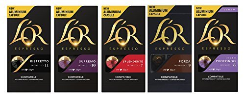 L'OR Nespresso Original line compatible Aluminium Capsules Set of 5 Flavours Variety Pack 50 Pods Aluminium Set