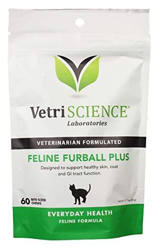 VetriScience Laboratories Feline Furball Plus Hairball Remedy Chew for Cats, 60 Chews by VetriScience Laboratories
