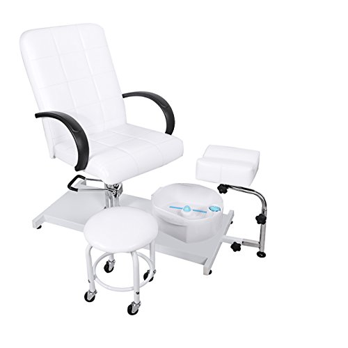 BEAMNOVA Hydraulic Pedicure Chair Beauty Adjustable Lift Chairs with Easy-Clean Bubble Massage Footbath Salon Equipment SPA (White)