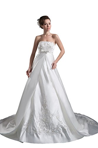 Vogue007 Womens Strapless Silk Taffeta Wedding Dress with Embroidery, White, 20W by Unknown