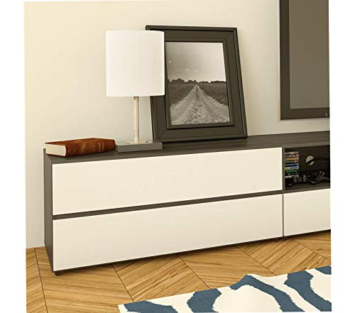 Nеxеrа Allure 36-inch TV Stand Ebony and White Decor Comfy Living Furniture Deluxe Premium Collection