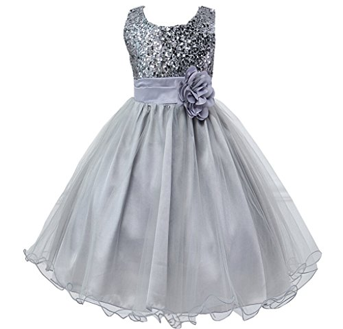 Girls Flower Sequin Princess Dress Bridesmaid TuTu Tulle Birthday Party Dress,Grey,18-24 Months