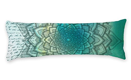 AILOVYO Teal Body Pillow Case Mandala Pattern Quote Silky Shiny Satin Pillow Cover Long Custom Material Case