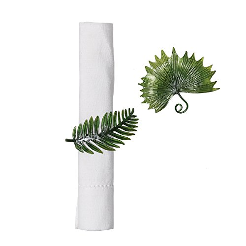 GALLERIE II Palm Leaf Tropical Beach House Coastal Ocean Vacation Dining Room Hand Crafted Decorative Napkin Ring Set of 6 Napkin Ring Set of 6 Palm Leaf
