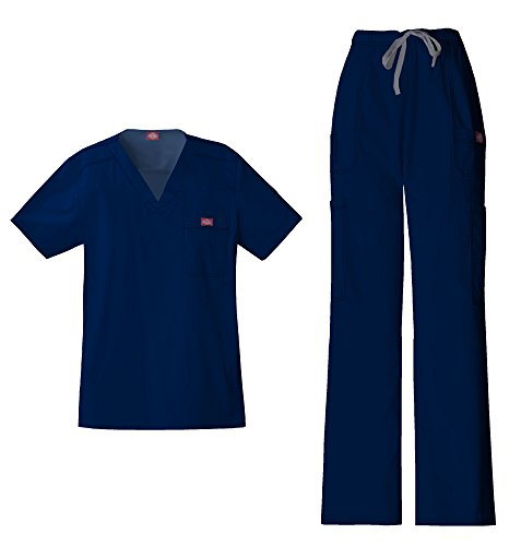 Dickies Gen Flex Men's V-Neck Scrub Top 81722 GenFlex Men's Drawstring Cargo Scrub Pant 81003 Scrub Set (Navy - X-Large/X-Large)