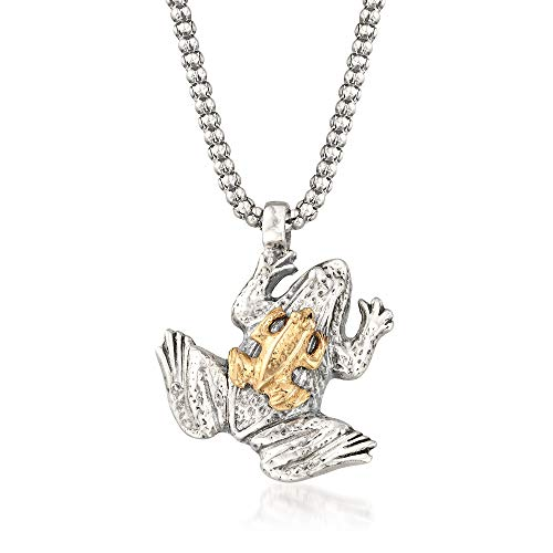 (Ross-Simons Sterling Silver and 14kt Yellow Gold Frog Pendant Necklace)