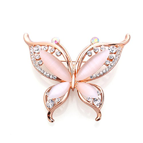 - BEICHUANG Rhinestone Crystal Romantic Butterfly Elegant Insect Brooch Pin Wedding Party Banquet (Rose Gold)