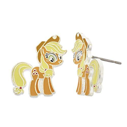 Pony Earring (My Little Pony Fine Silver Plated Girls' Apple Jack Stud Earring)