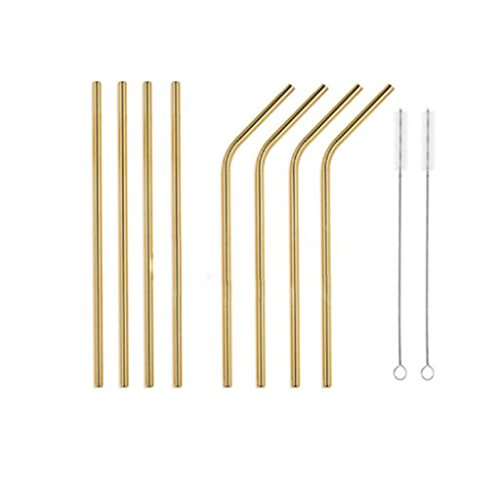 Nesting Wide Table - Weite Stainless Steel Drinking Straws, 4 Bent and 4 Straight Safe Reusable Straw (6mm Wide) for Smoothies Tea Juice Water Essential Oils, with 2 Free Cleaning Brush (Gold)