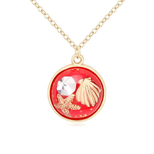 (BEICHUANG Starfish, Shell Specimen Pendant, Marine Organism Multicolored Agate Necklace Gold for Women (Red))