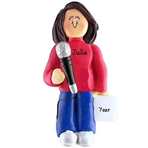 DBK Singing Singer Microphone Personalized Music Christmas Ornament Personalized Free (Female Brown Hair)]()
